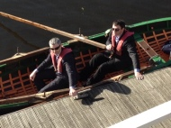 Martin O'Donoghue, Cork Opera House & Denis Barrett, ETB travelling to work by boat, arriving at the Clarion Boardwalk.